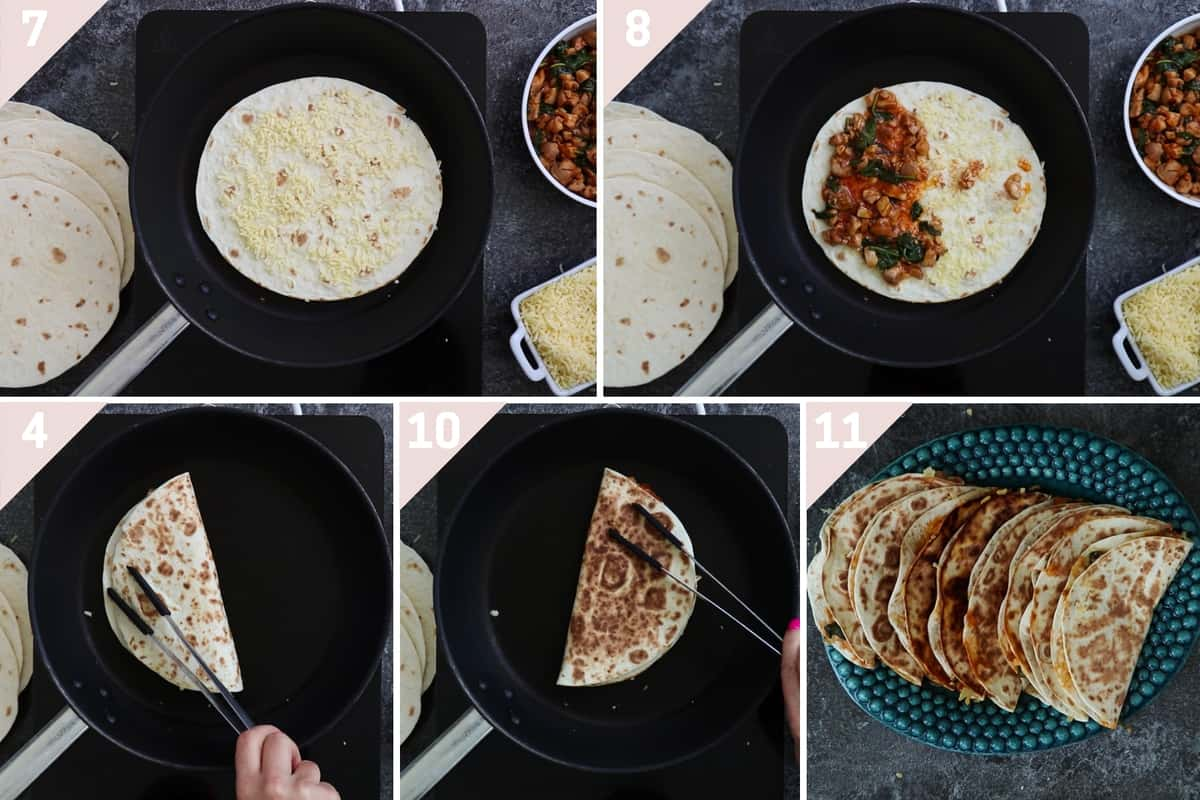 collage showing how to make quesadillas with cheese and buffalo chicken