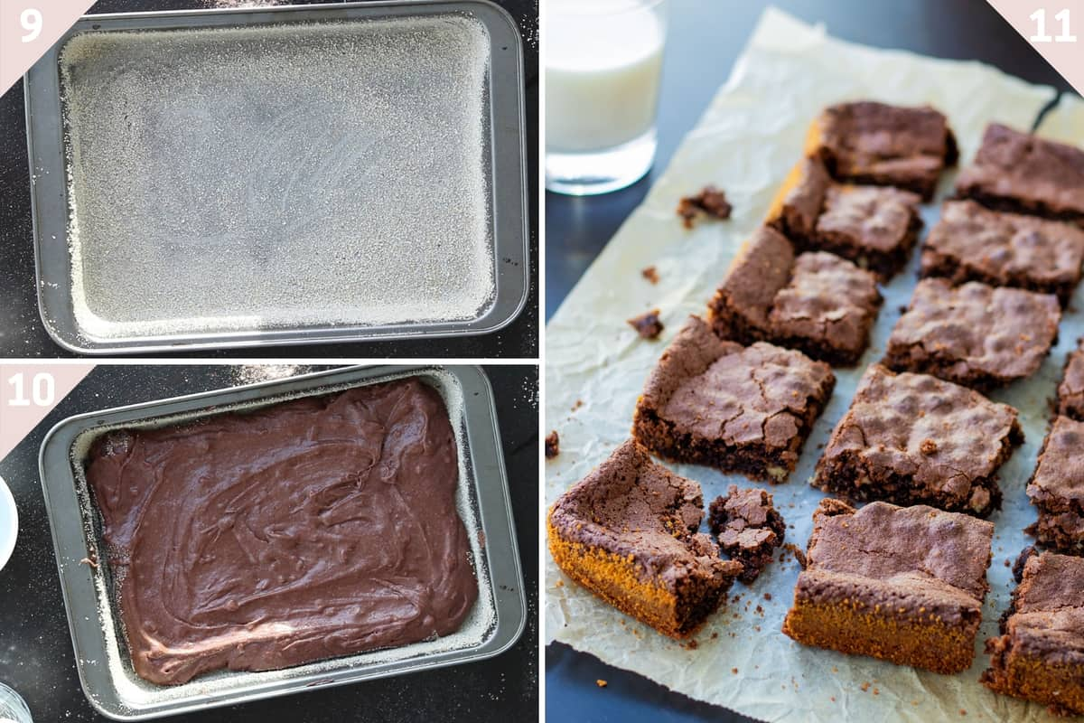 collage showing how to make walnut brownies