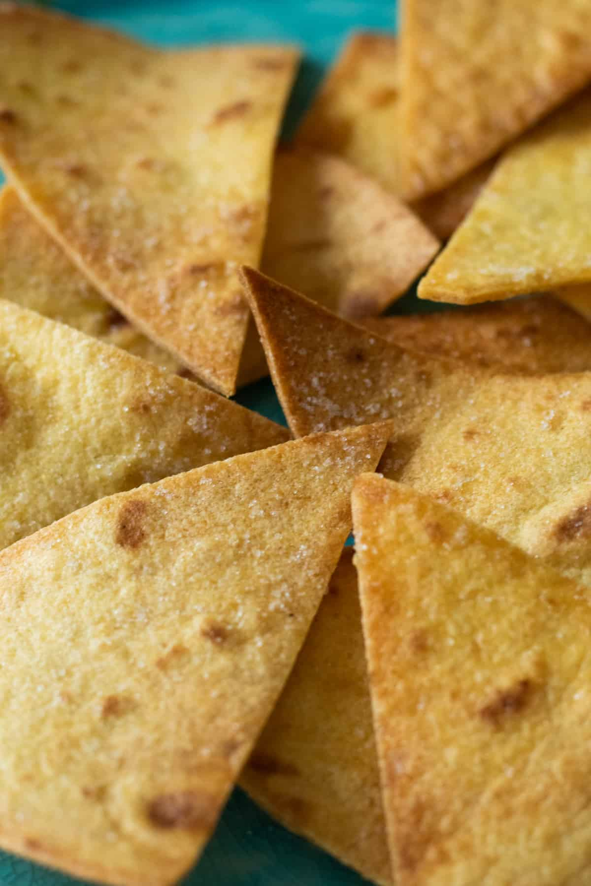 close up of air fryer tortilla chips