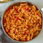 chicken feta cheese pasta in a pan