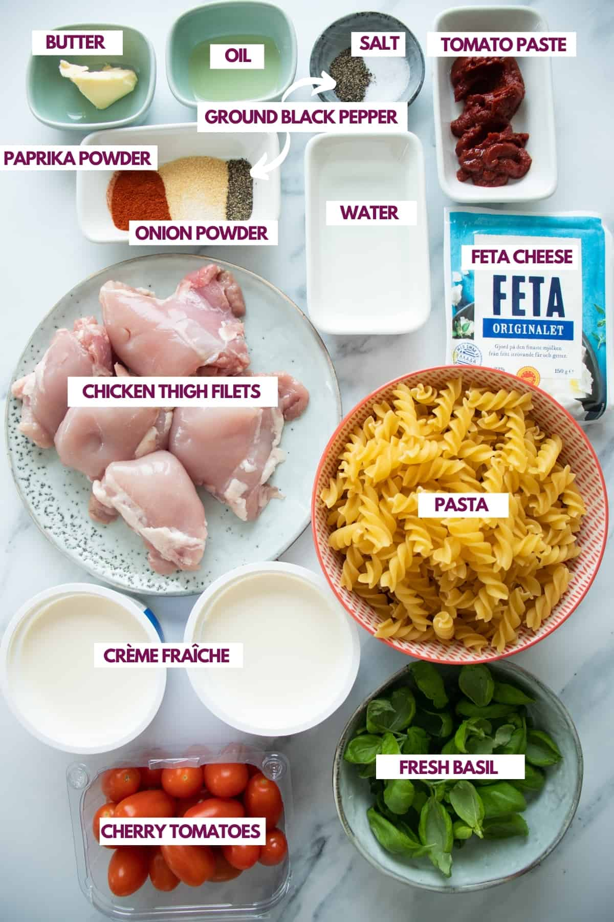 ingredients needed to make feta cheese pasta with chicken