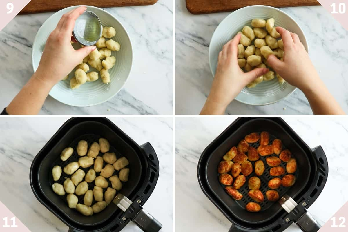 collage showing how to air fry tater tots