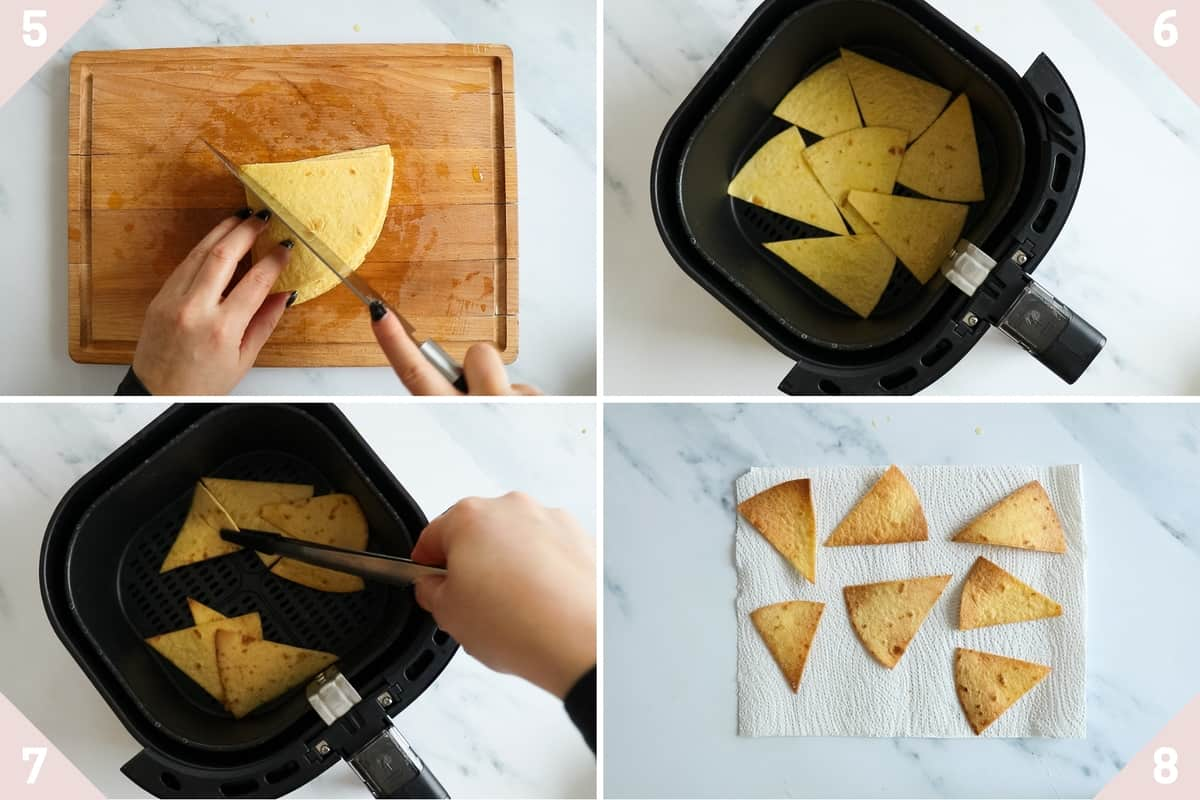 collage showing how to air fry tortilla chips