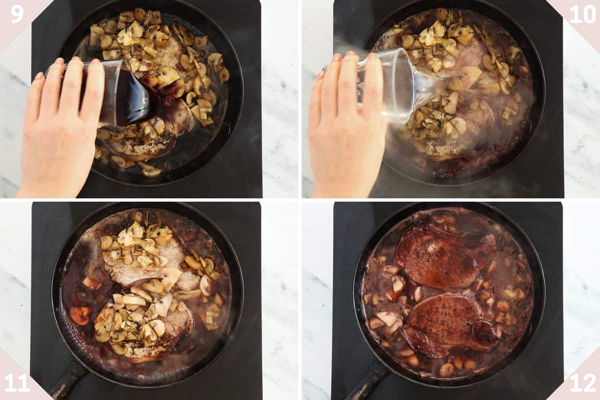 collage showing how to make sauce for pork chops