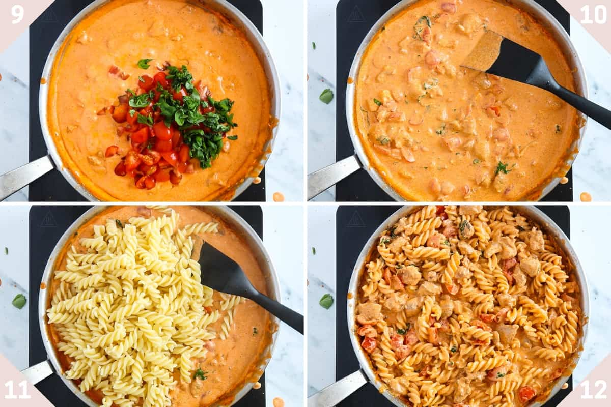 collage showing how to finish making feta cheese pasta