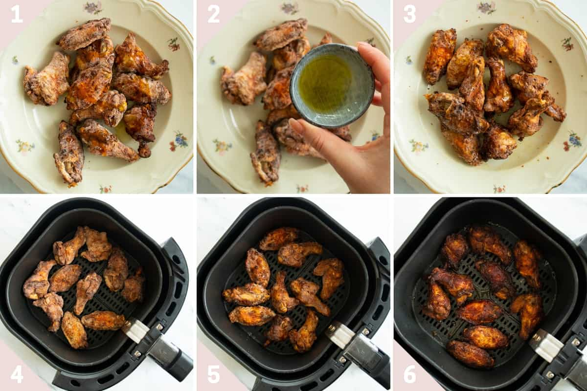 collage showing how to make frozen chicken wings in the air fryer