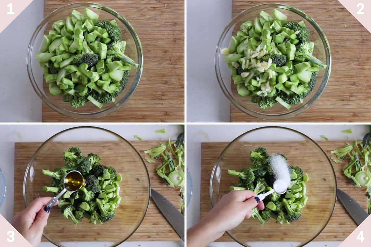 collage showing how to season broccoli