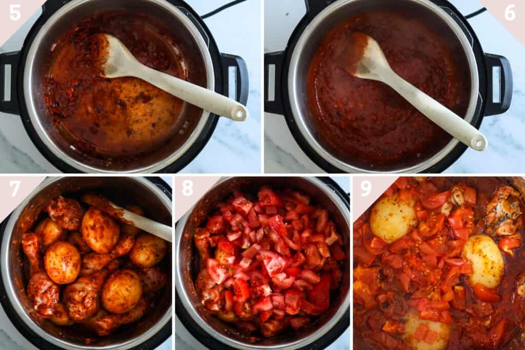 instant pot chicken and potatoes with tomato sauce