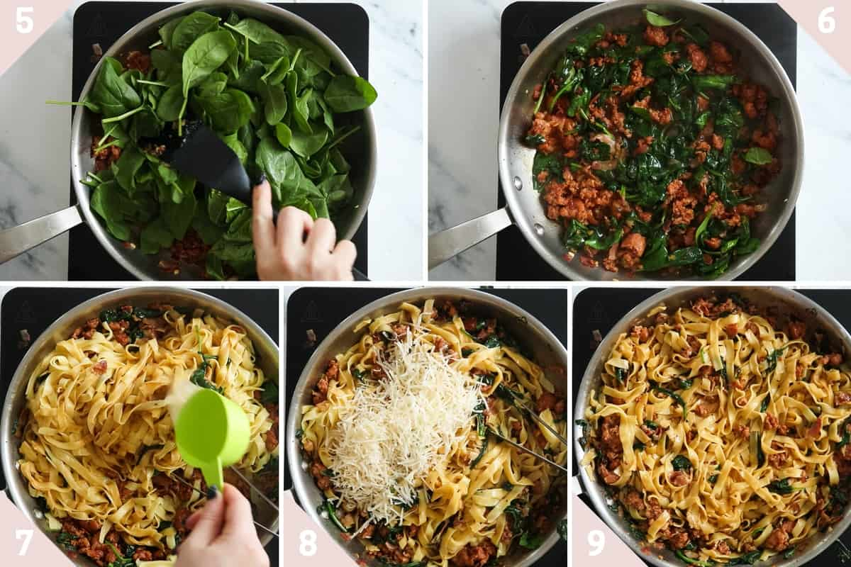 collage showing how to make spicy sausage pasta