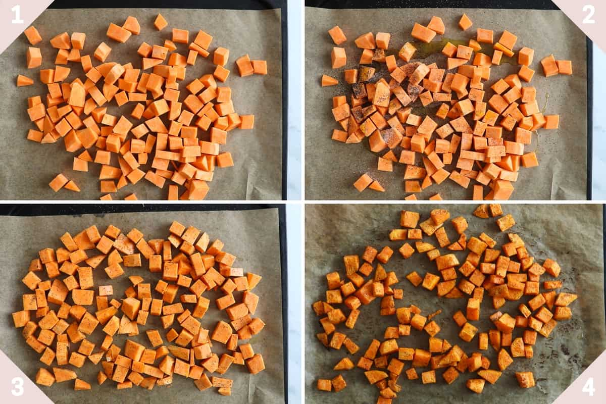 collage showing how to season and roast sweet potato cubes