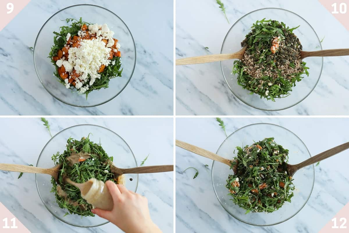 collage showing how to mix together sweet potato feta salad