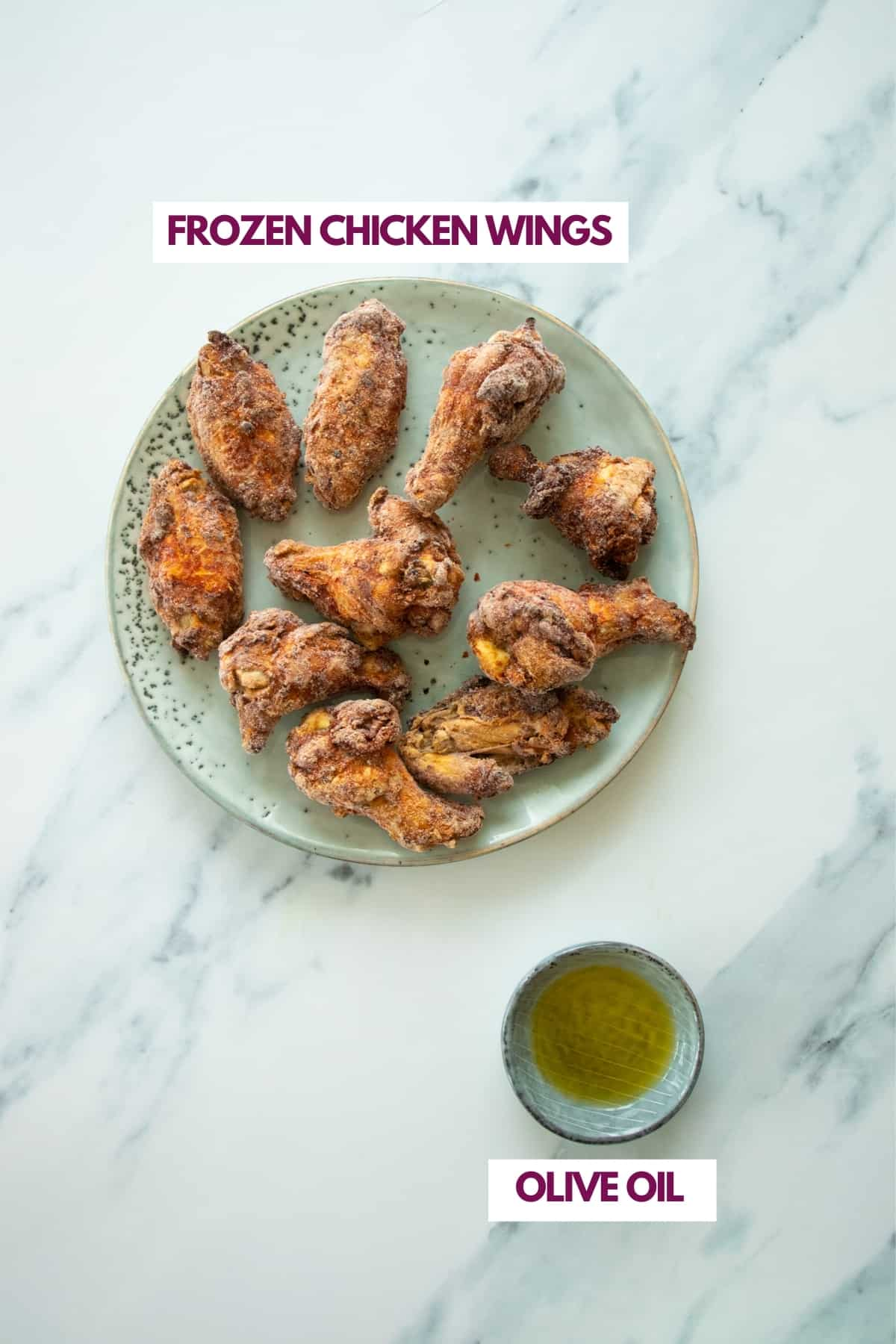 ingredients for frozen chicken wings made in the air fryer