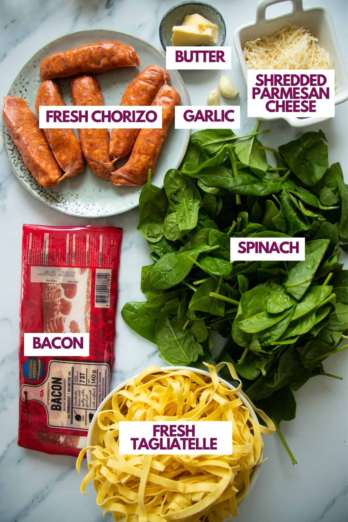 ingredients needed to make spicy sausage pasta