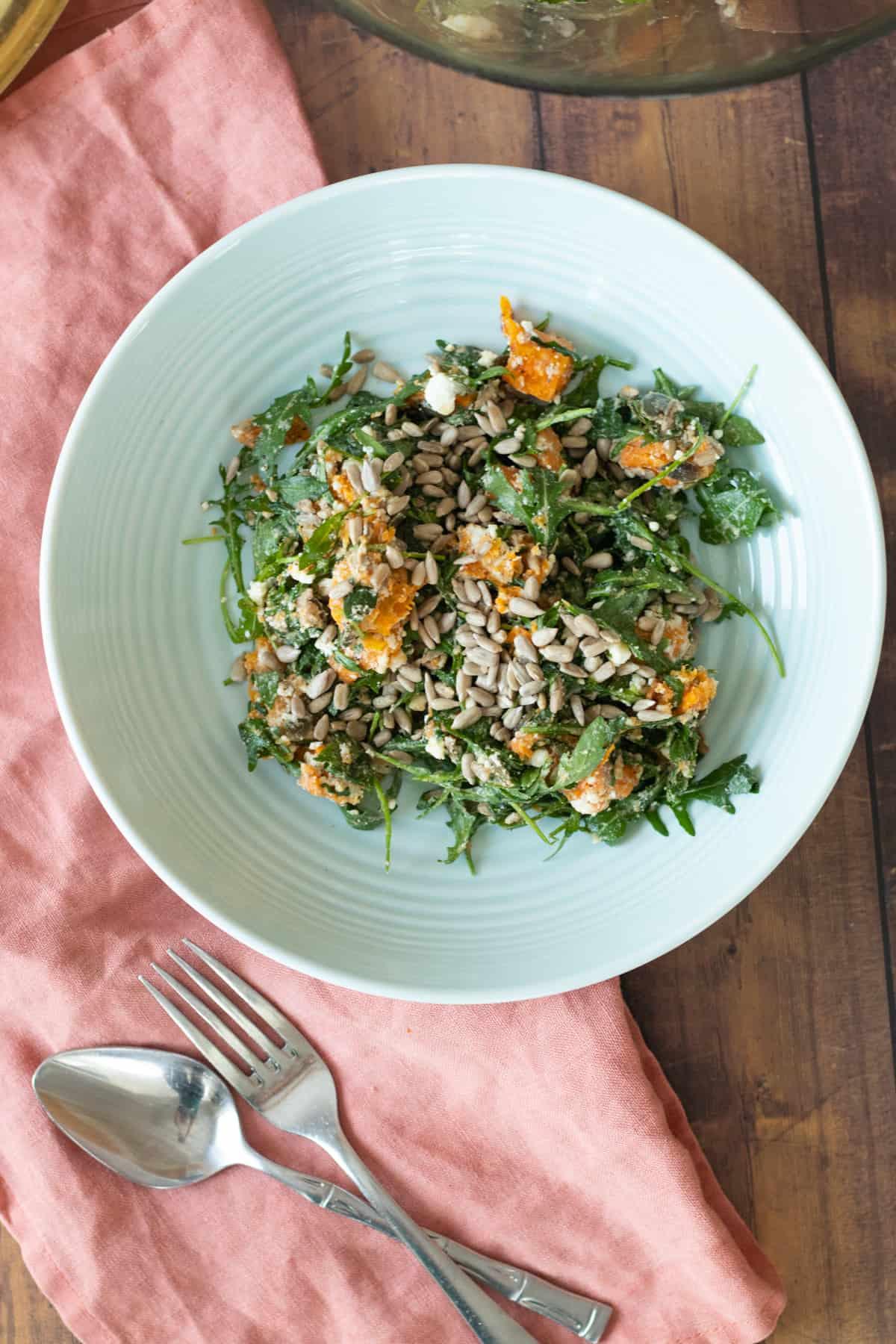 sweet potato feta salad in a blue bowl