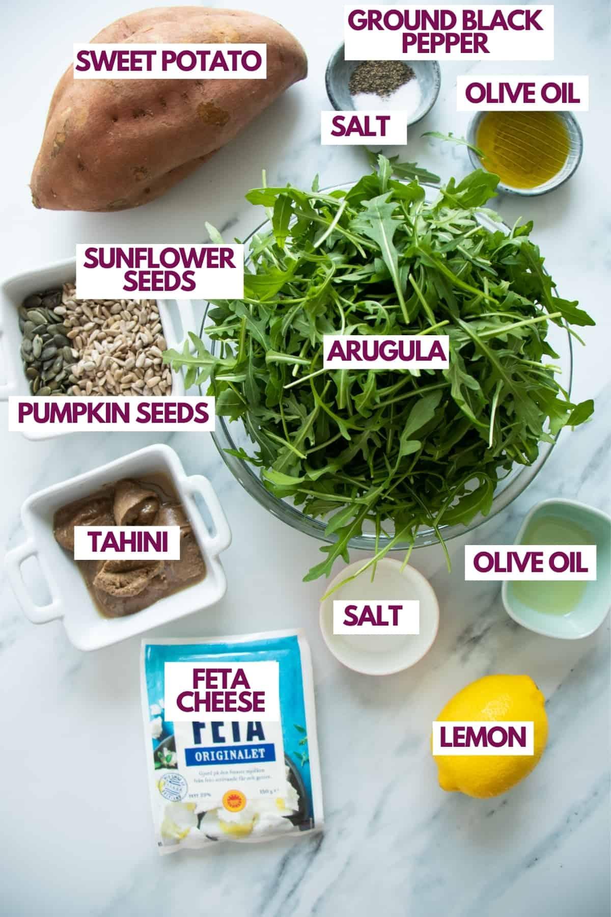 ingredients for sweet potato feta salad