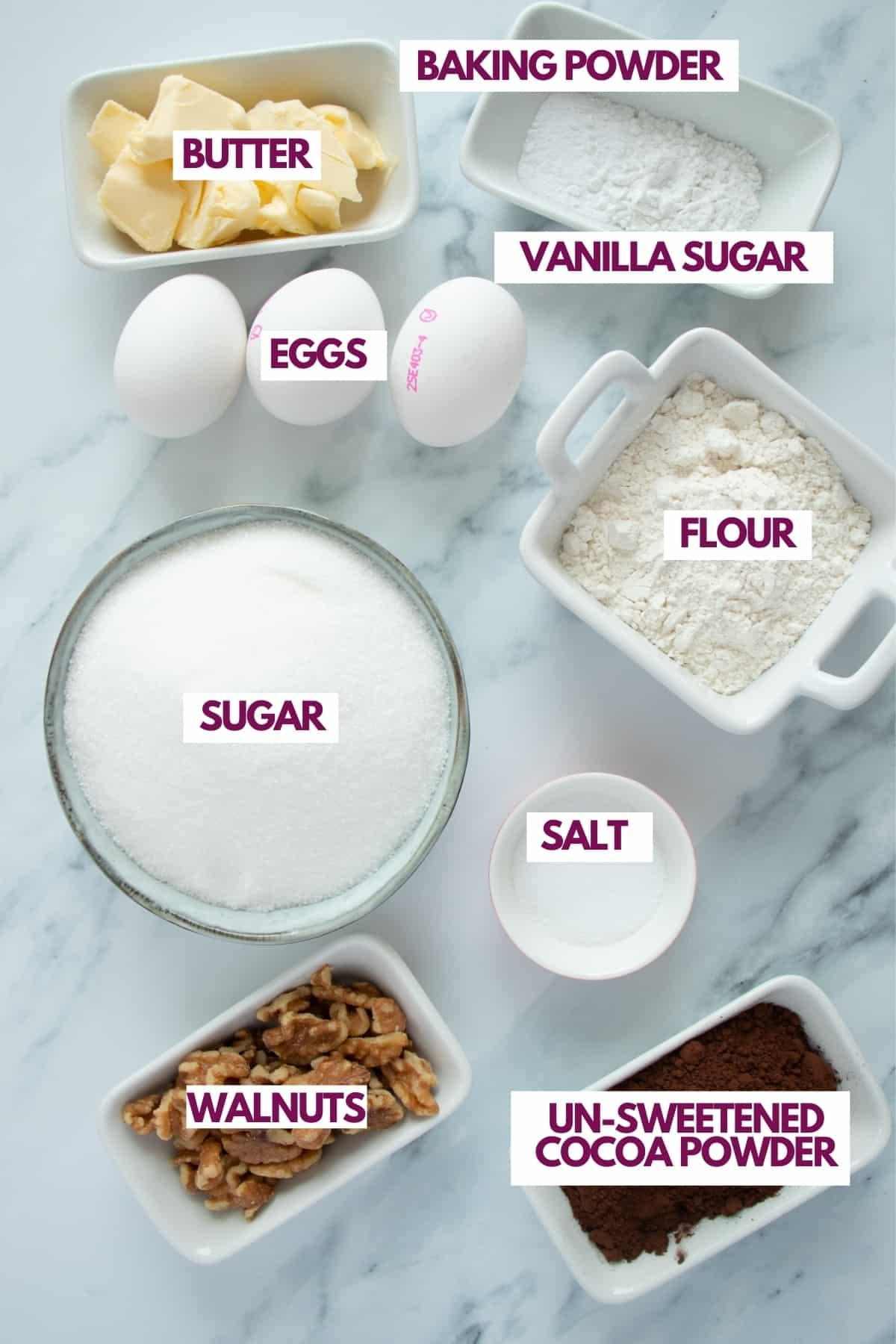 ingredients for walnut brownies