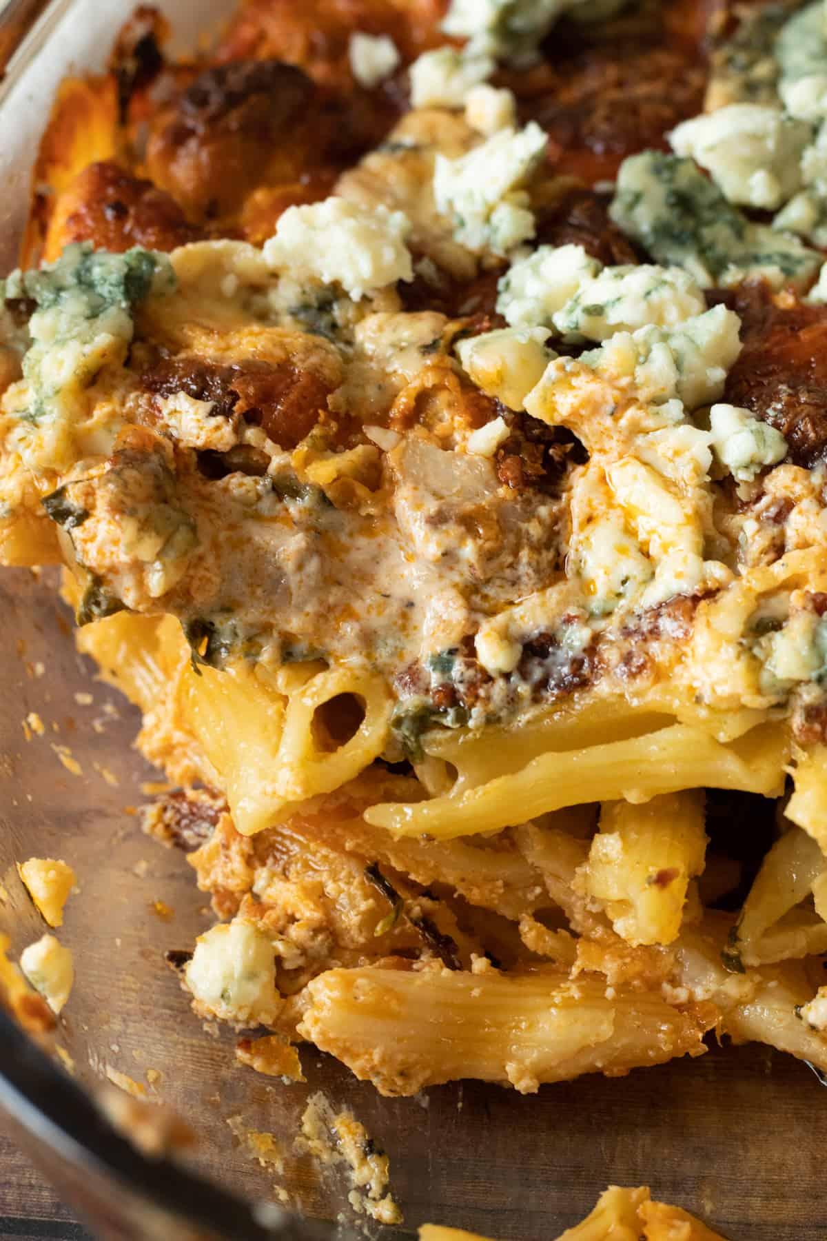 close up of buffalo chicken pasta bake