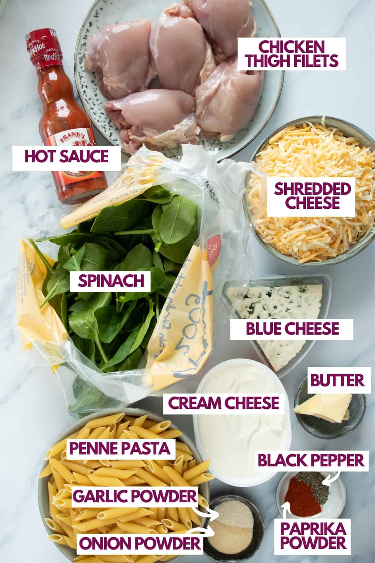 ingredients for buffalo chicken pasta bake