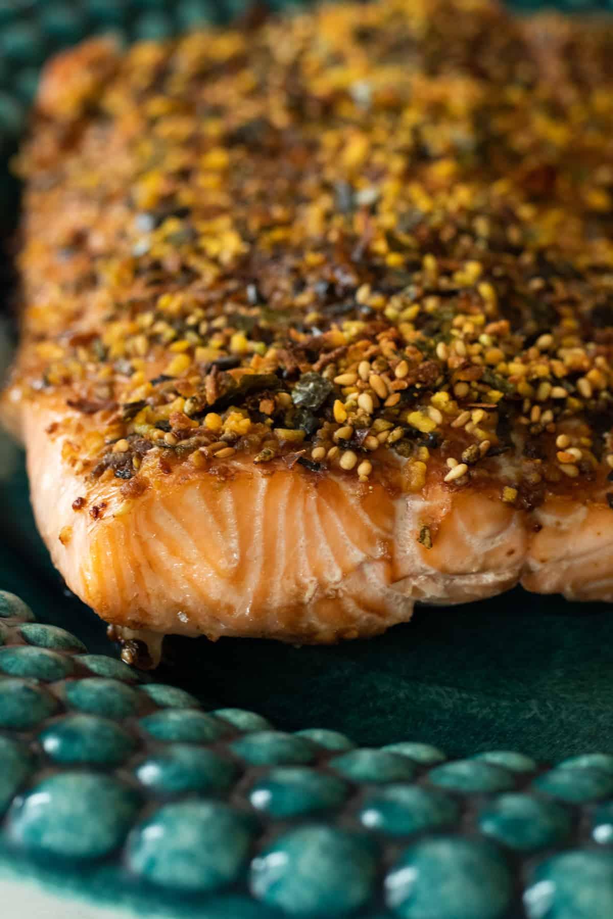 furikake salmon on a blue green plate