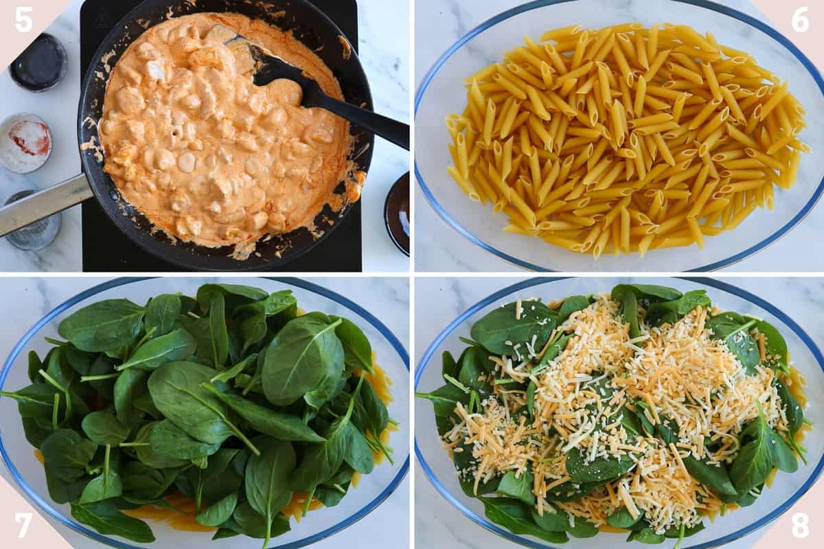 collage showing how to make a buffalo chicken pasta bake