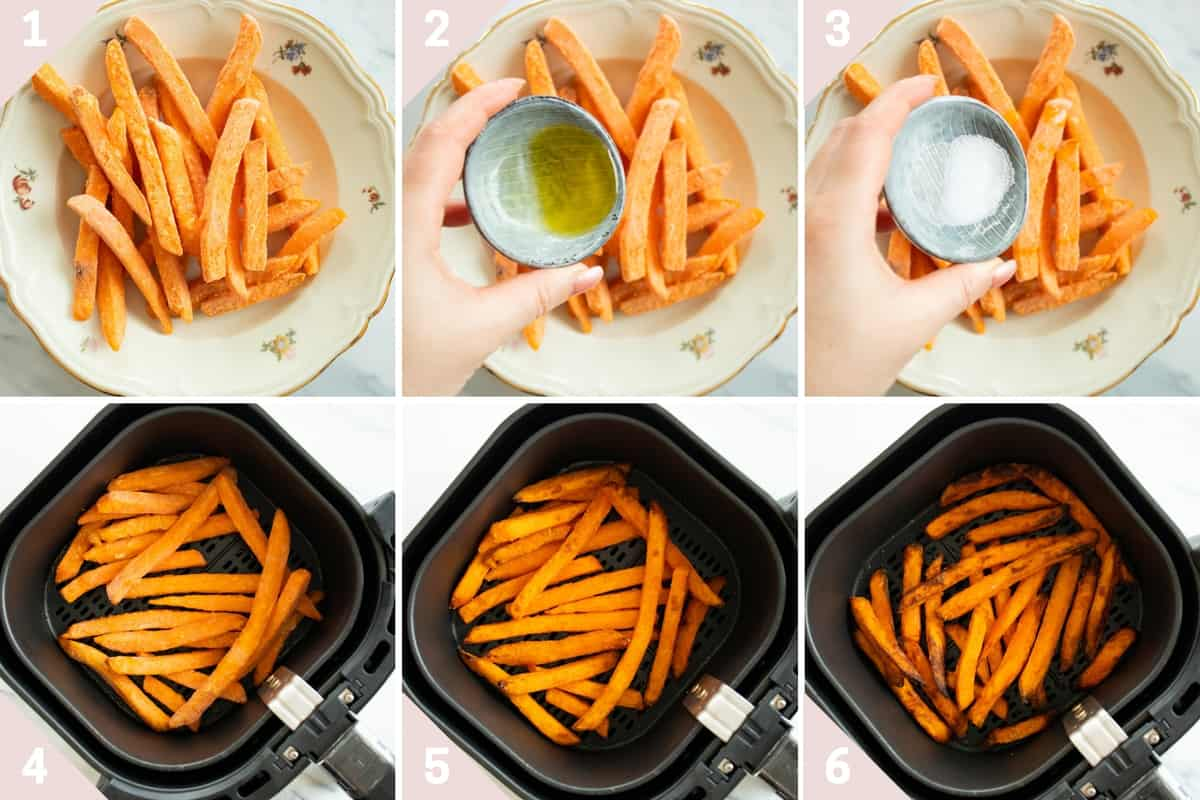 collage showing how to cook frozen sweet potatoes in the air fryer