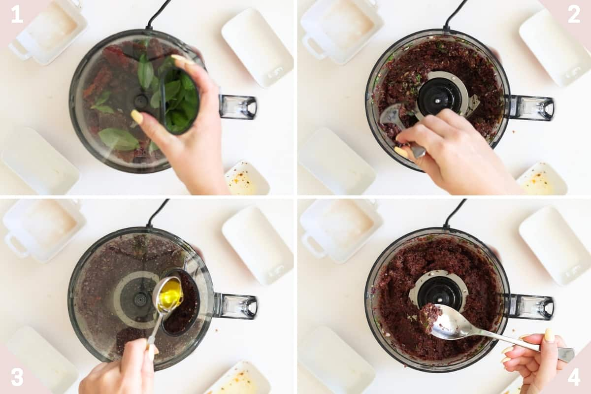 collage showing how to make vegan tapenade in a food processor