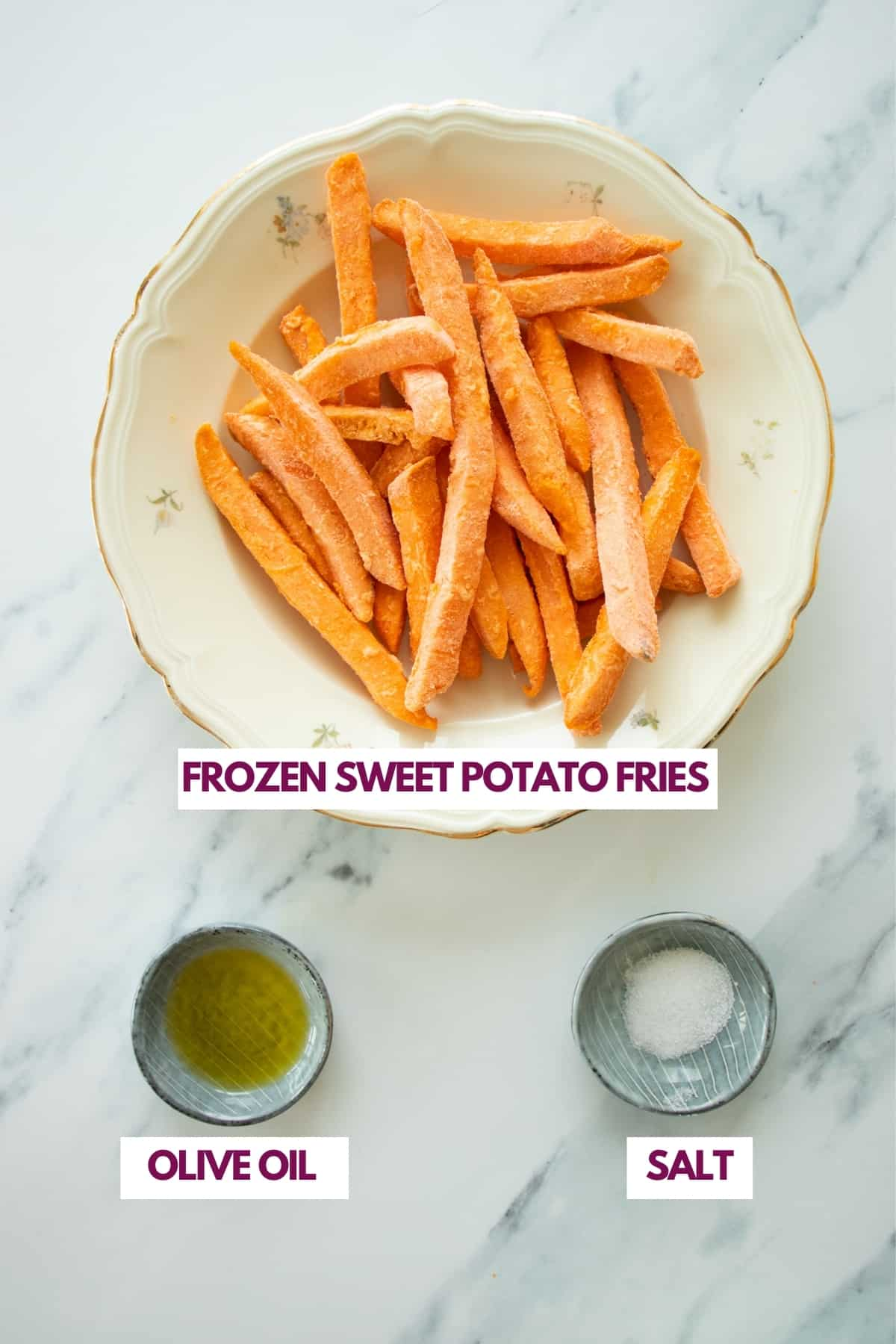 ingredients for making frozen sweet potatoes in the air fryer