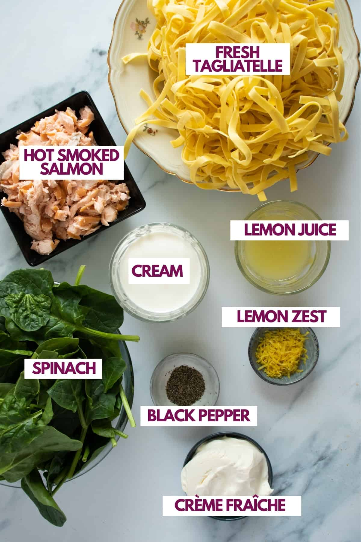 ingredients for salmon spinach pasta