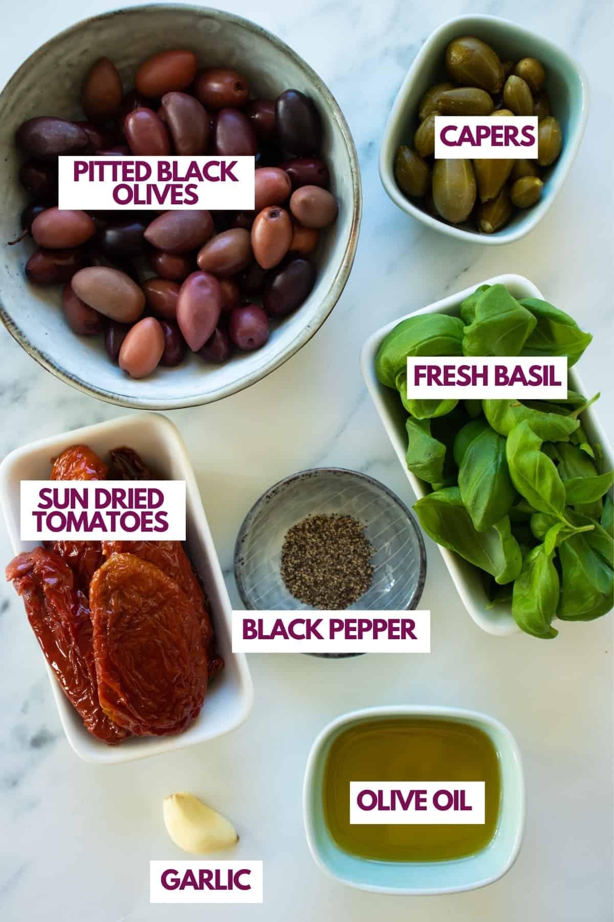 ingredients for vegan tapenade