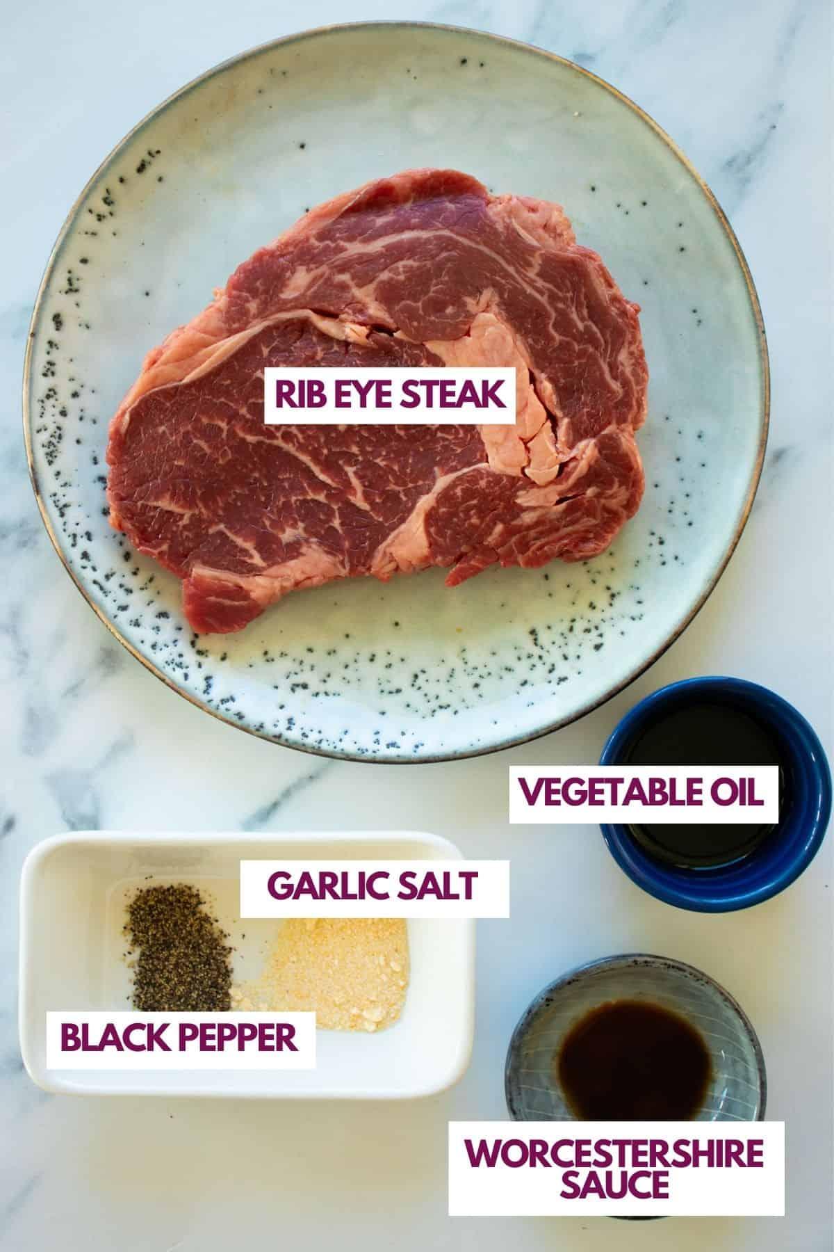 ingredients for air fryer rib eye steak