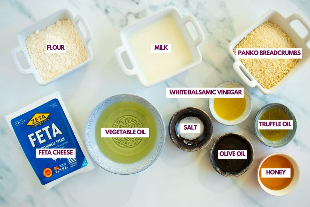 ingredients for fried feta cheese with vinaigrette