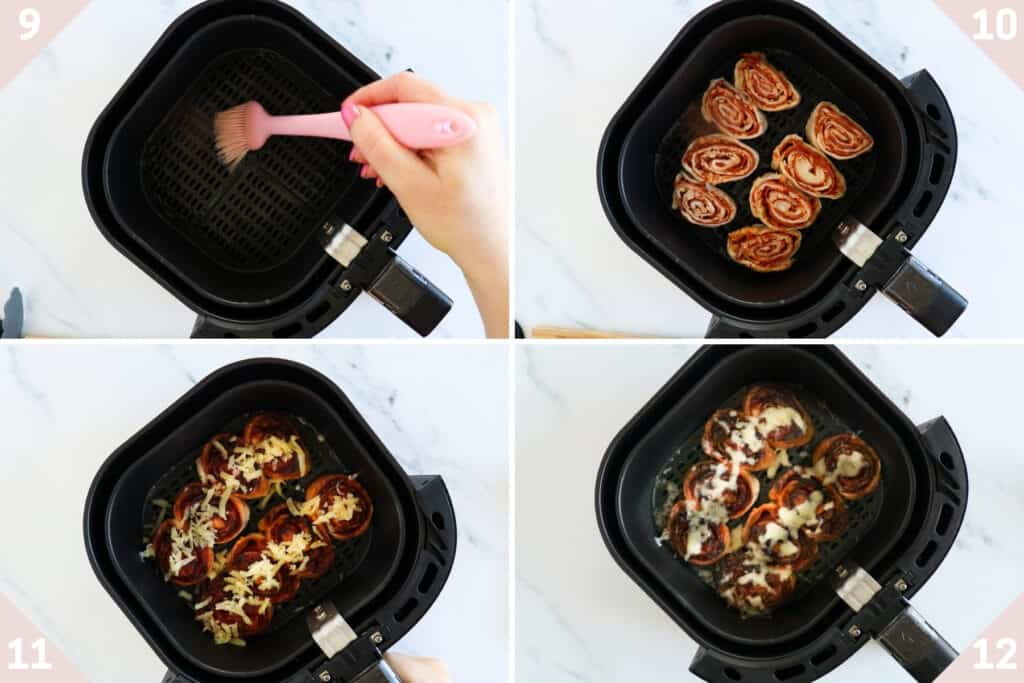 collage showing how to air fry pizza rolls