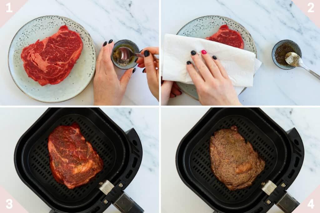 how to make air fryer rib eye steak