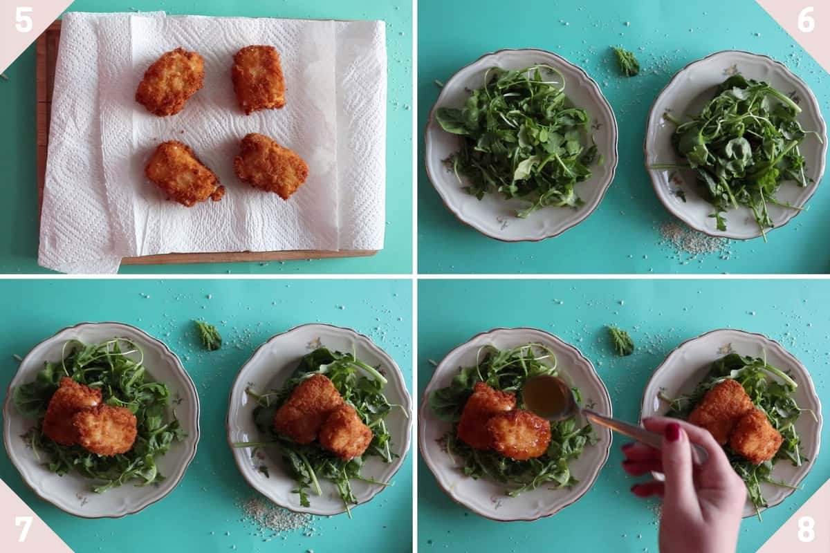 how to plate fried feta cheese