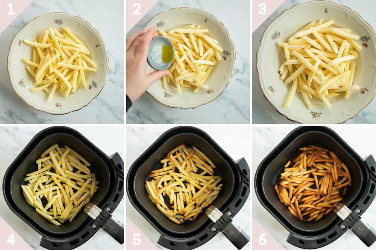 collage showing how to cook frozen french fries in air fryr