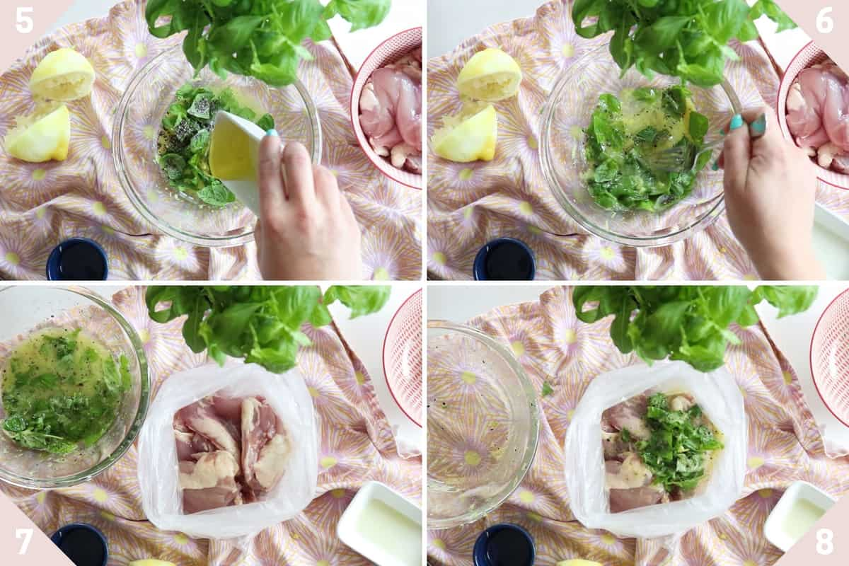 collage showing how to make lemon chicken marinade