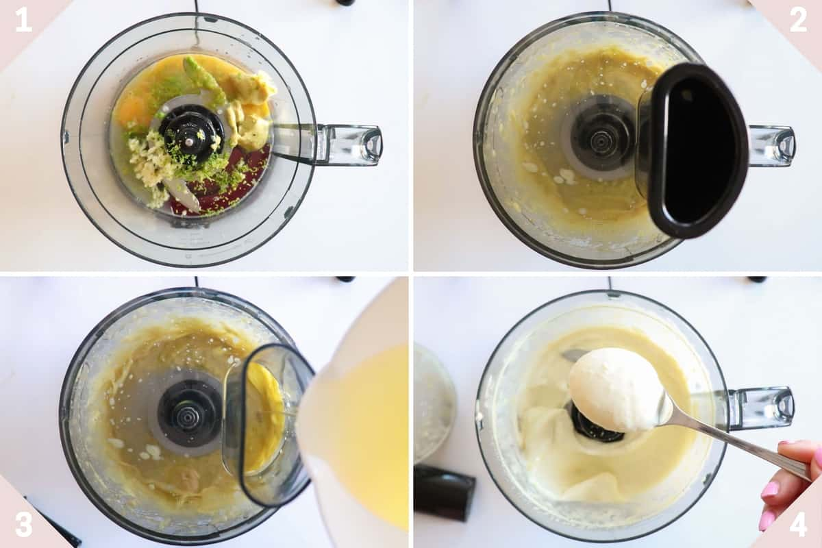 collage showing how to make lime aioli in four steps