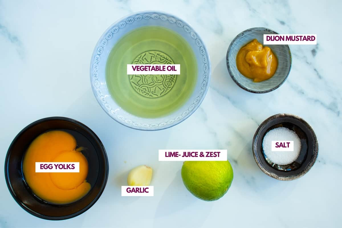 ingredients for lime aioli