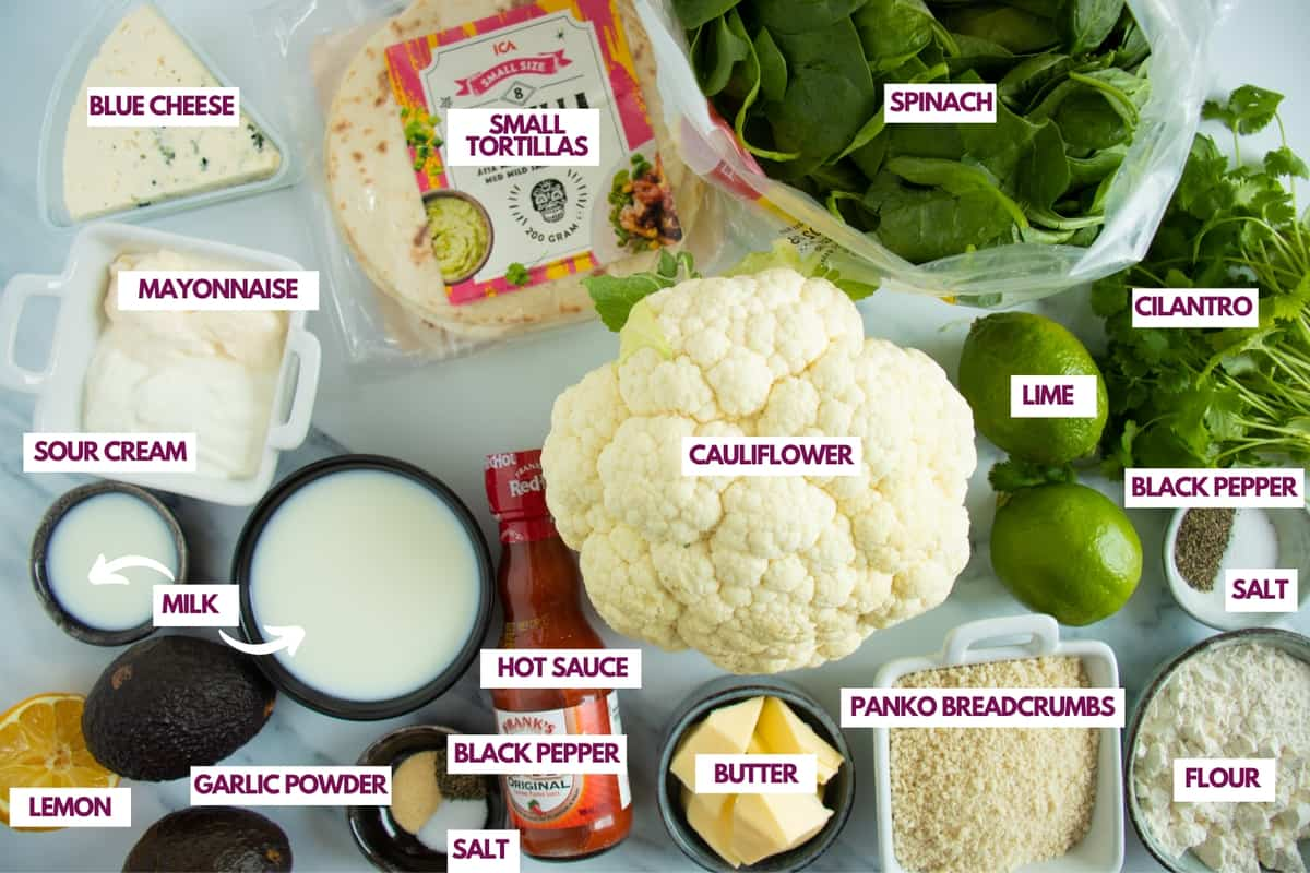 ingredients for buffalo cauliflower tacos