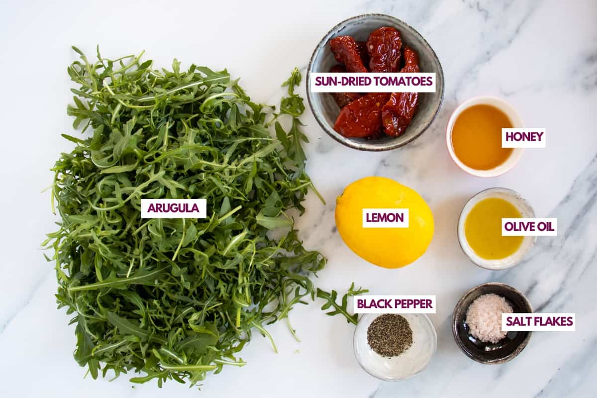 ingredients for a simple arugula salad