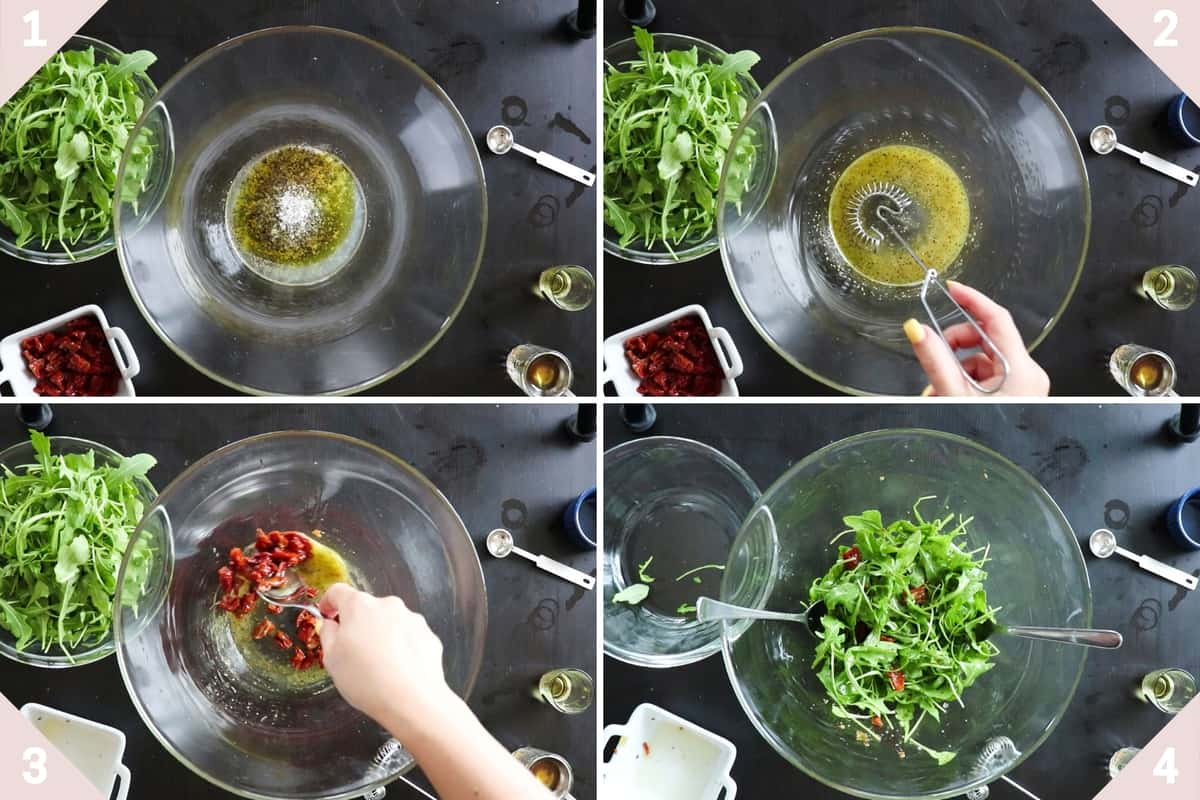 collage showing how to make a simple arugula salad from start to finish