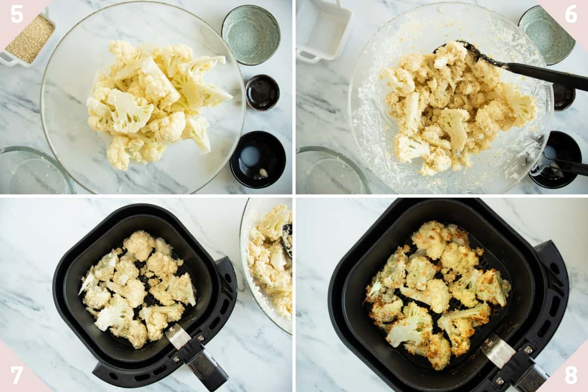 collage showing how to make air fryer buffalo cauliflower