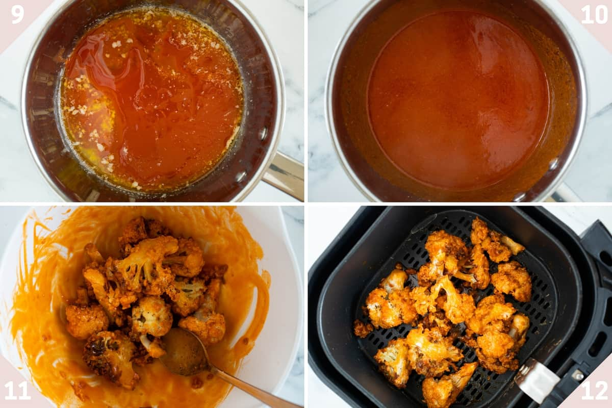 collage showing how to make buffalo sauce and mix