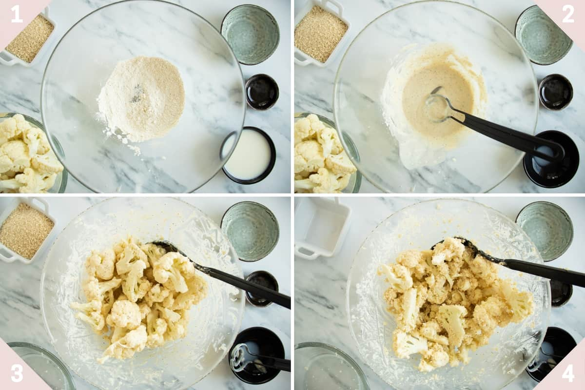 collage showing how to make buffalo cauliflower tacos