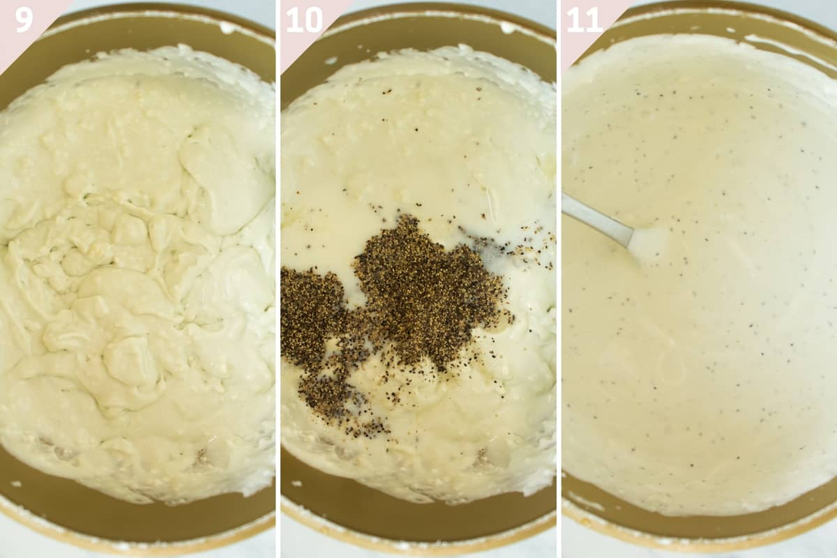 collage showing how to make blue cheese sauce
