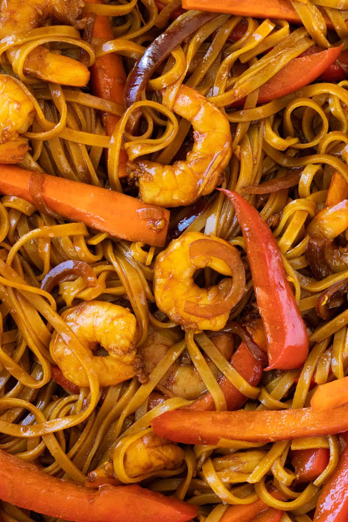 close up of shrimp mei fun