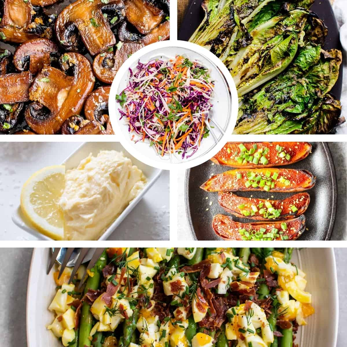 collage showing different side dishes that go well with salmon