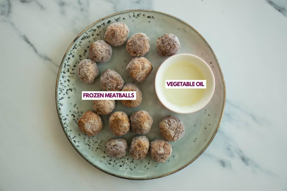 ingredients for making frozen meatballs in air fryer