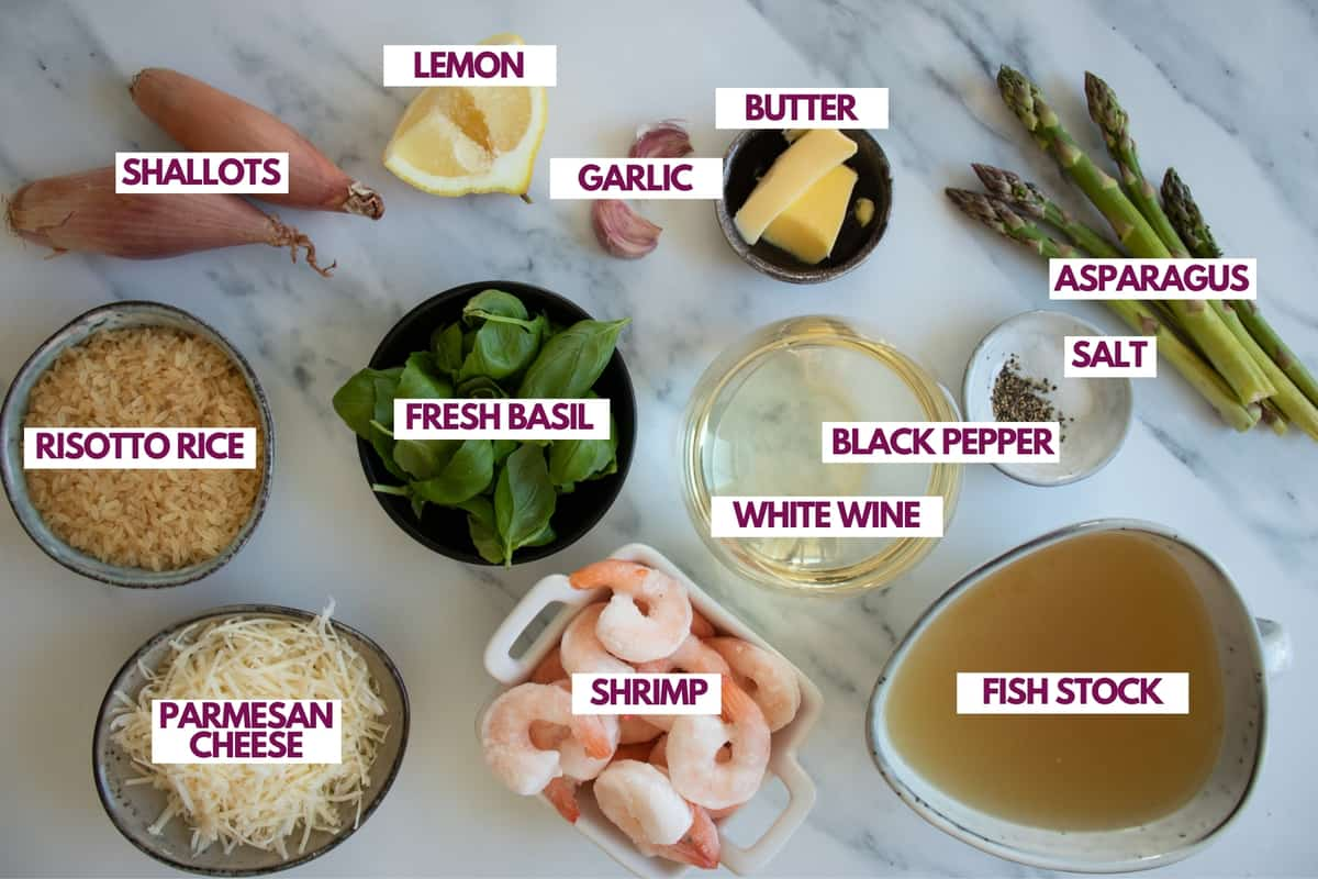 ingredients for a creamy risotto
