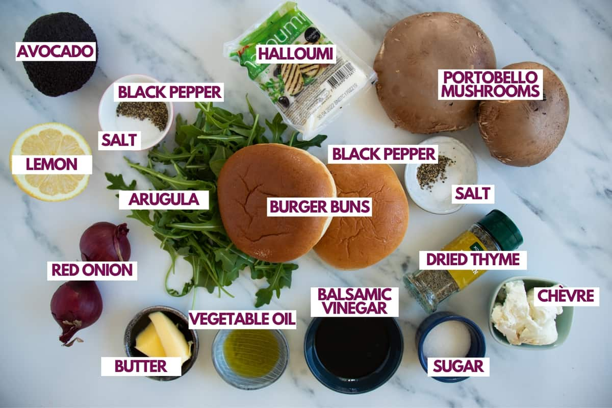 ingredients for halloumi burgers